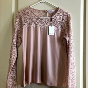 Blush Calvin Klein lace sleeved blouse